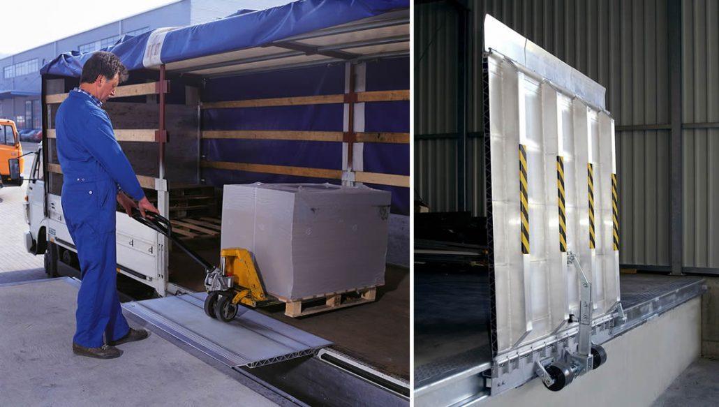 Rampa idraulica di raccordo con sponda in alluminio armo for Rampe di carico per container